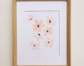 Original Watercolor of Peach Poppies Cherry Blossoms Abstract Watercolor Coral Flowers Botanial Painting Original Art Under 50 Gifts for Her