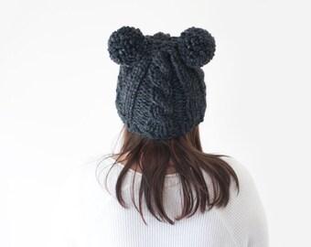 cable knit grey pom pom ear beanie hat, wool knitted animal bear ear pom beanie / Kauri / Charcoal