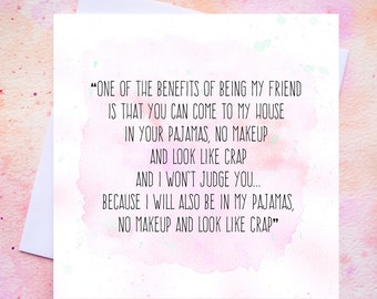 Funny Friendship Quote Card - Best Friends - No Makeup - Blank Inside - Free UK Postage!