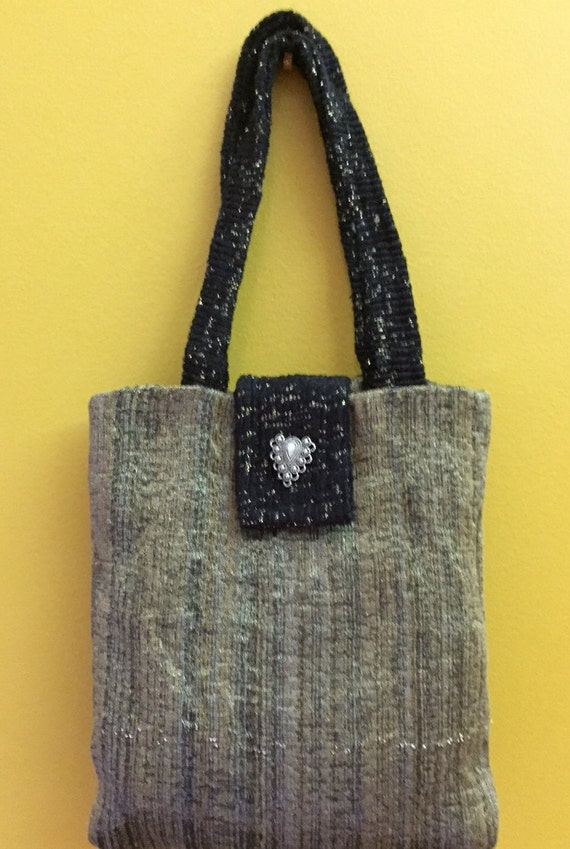 SALE!  Little girl shiny tote or big girl evening bag, gold and black with decorative button and snap closure.