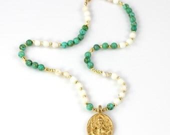 Buddha Pendant Beaded Necklace Short Boho