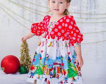Girls Christmas Dress - Gnome Christmas Dress -Girls Gnome Dress - Girls Peppermint Dress - Girls Elf Dress  - Christmas Elf Dress -
