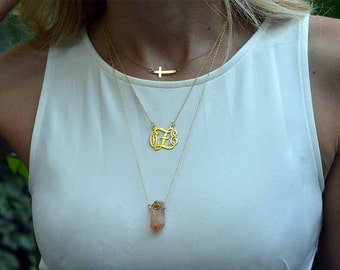 Gold stacked necklace with a Crystal.Multi strand monogram pendant.Layered necklace with a cross.Trendy pendant women.