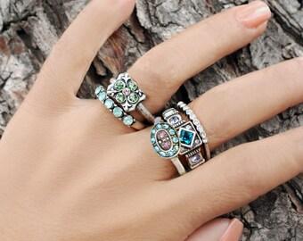 Set of 5 Stack Rings, Sweet Romance, Gypsy Rings, Swarovski Crystal Rings, Stacking Rings, Stacking Rings, Gold Rings, Boho Rings R1666