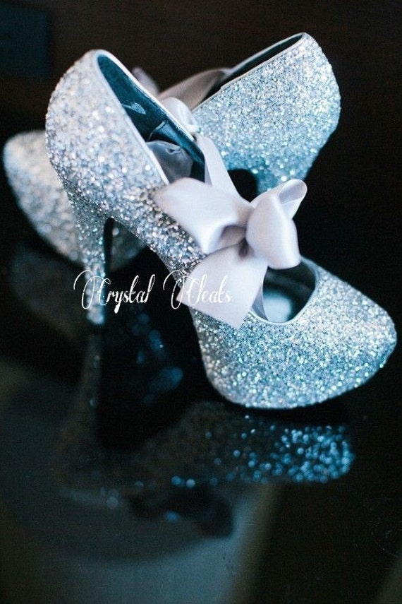 SPARKLY blue glitter fairytale PUMPS satin ribbon bow party dance high heels something blue wedding bride bridesmaids stiletto shoes prom