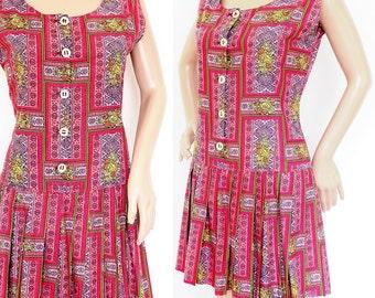 SALE 15% Off! Vintage 50s Novelty Print Dress: Pleated Drop Waist Skirt UK 10/12