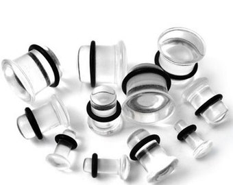 Acrylic Ear Plugs for Earring Conversion or Regular Use. Sizes 10G / 2.5mm and Up. Available in Black or Clear