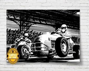 Car Art - Vintage Race Poster - Canvas Art Print, Auto Art, Car Gift, Garage Decor, Race Car, Man Cave Art, Large Canvas Art, Garage Art