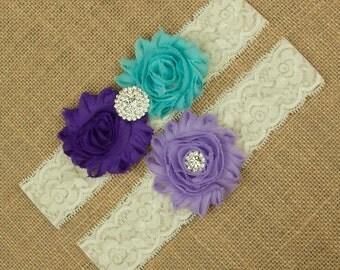 Purple and Blue Wedding Garter Set, Bridal Garter Set, Purple Wedding Garter, Toss Garter, Keepsake Garter, Wedding Garter, Garter, SCI3-3
