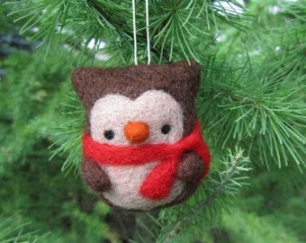 Christmas Tree Ornaments, Needle Felted Owl Ornament, Christmas Owl, Christmas Tree Decor, Felt Owl Ornament, Owl Decoration, Felt Ornament