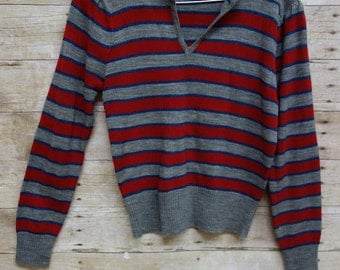 50% OFF ORIGINAL PRICE!!! Vintage 1980s Cute and Cozy Grey Red and Blue Striped Long Sleeved Pullover Sweater Top. Size Small.
