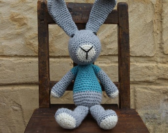 Handmade, crocheted toy rabbit for children and babies in grey, turquoise and white