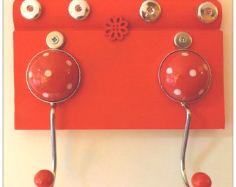 2 x Red Polka Dot Coat Hooks, on Red Decorated Wood with wooden and metal buttons.  Perfect for brollies, scarves, coats and accessories
