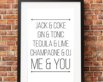 Jack and Coke, Me and You // Digital Print 8x10