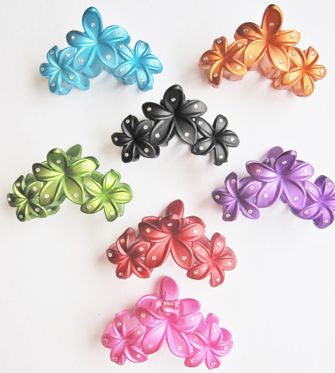 Flower hair claw clips with crystals