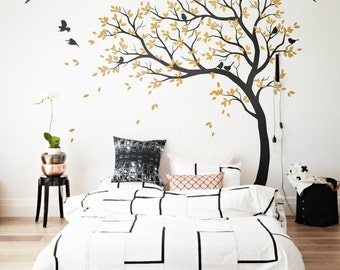 Genial Wall Decal Large Tree Decals Huge Tree Decal Nursery With Birds White Tree  Decals Wall Tattoos