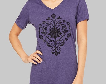Floral, V Neck T Shirt, Floral Shirt, yoga tshirt, v neck shirt, women, v neck tshirt,, womens, graphic tees, v neck