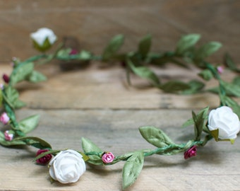 Floral white bridal hair piece, head band, garland.