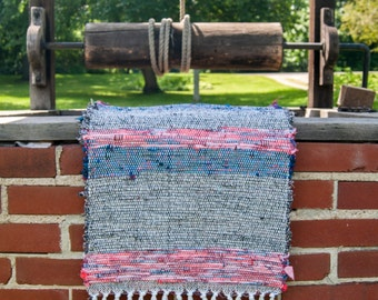 Rag Rug - Long Table Runner - Upcycled - Recycled - Denim