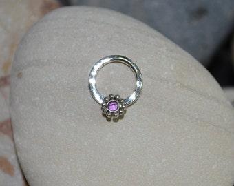 2mm Amethyst NIPPLE RING 14g // Silver Flower Nipple Piercing - Cartilage Hoop - Tragus Ring - Septum Jewelry 14g - Amethyst Septum Ring