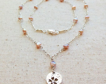 Pink Pearl & Sterling Silver Flower Charm Necklace