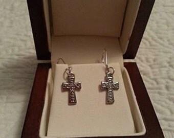 Sterling silver plated cross earrings