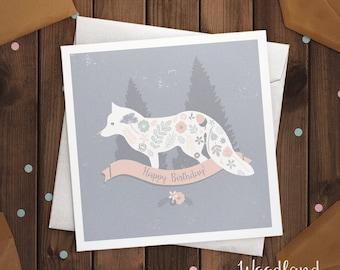 Fox Happy Birthday Card Woodland Animal Greetings Card