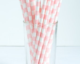 25 Light Pink Wide Stripe Paper Straws- The perfect touch for girl baby showers, bridal showers, and pink-themed birthday parties