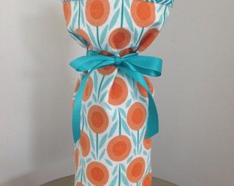 Fabric Wine Gift Bag, Modern Print Wine Bag, Orange and Teal Wine Bag