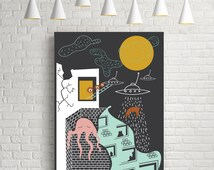 Facts, urban poster, wall art, urban decor, giclee prints, modern prints, contemporary art, illustration art, digital illustration, art
