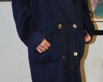 Sale! 80's Christian Dior Navy Wool Couture Double Breasted Trench Over Coat