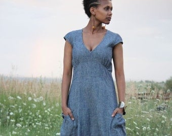 Indigo Hemp Maxi Garden Dress with Pockets