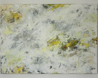 """Abstract Painting - Modern Acryl Painting on handmade 57x35"""" canvas """"White vs. Green"""" Minimalism - Already Stretched / Ready to hang"""