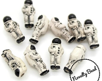 10 - Small - Astronaut Beads - Outer Space Beads - NASA - Novelty - Ceramic