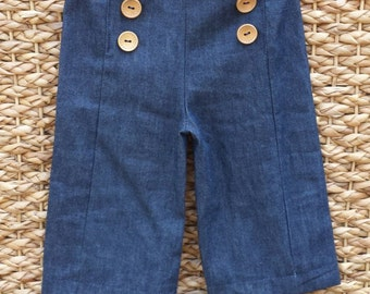 BABY JEANS navy blue denim sailor pants stretchy handmade baby clothes