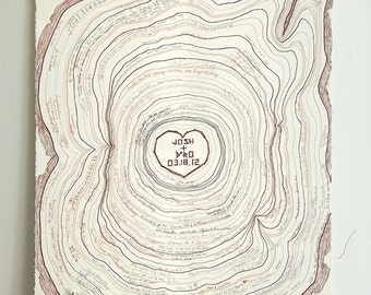 "Custom Tree Rings Guest Log | 22"" x 30"" Personalized Tree Slice Wedding Guest Book 