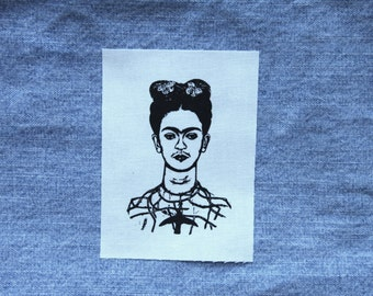 Frida Kahlo Patch // White Silkscreen Sew On Feminist Patch