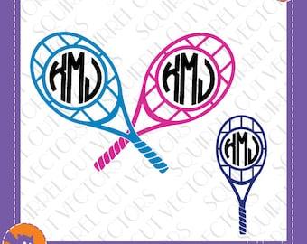 Tennis Monogram Frames SVG DXF EPS Cutting file