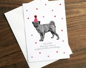 Custom Personalised Birthday Card - Pug Lover Pugging Brilliant Spotty Polkadot Pom Pom Dog Customised Greetings Card