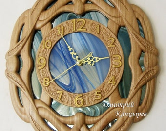 Carved wooden wall clock, wall decor, home interior living room office, wood ash, stained glass mirror, elite, gift