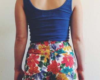 Vintage High Waisted Floral Watercolor Shorts