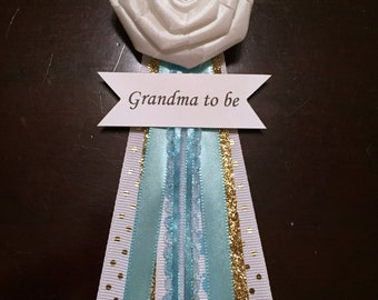 Grandma To Be Corsage - blue, white and gold baby shower corsage