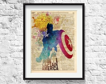Captain america / superhero art /art print on vintage dictionary page/ superhero poster / 221