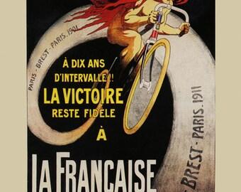 Bike 1911 Fashion Lady Riding Bicycle Cycle La Victoire Diamant Paris Brest Vintage Poster Repro FREE SHIPPING