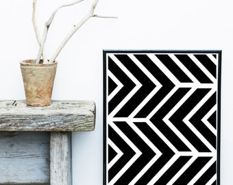 Geometric Art, Printable Art, Arrow Print, Geometric Print, Scandinavian Art, Wall Decor, Black And White Art, Instant download