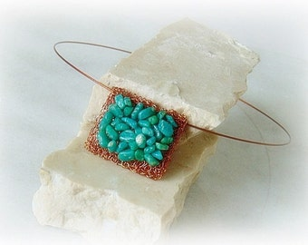 Amazonite necklace, amazonite, aqua necklace, wire crochet jewelry, wire crochet necklace, copper wire, necklace, gemstone, unique jewelry