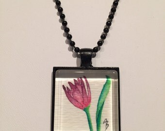 Magenta Tulip - Original Mini Watercolor Painting Necklace