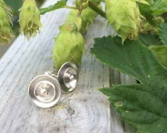 Silver Stud Earrings | handmade | domed disk | gift | for her