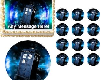 DOCTOR WHO TARDIS Edible Cake Topper Image Frosting Sheet Cake Decoration Many Sizes!