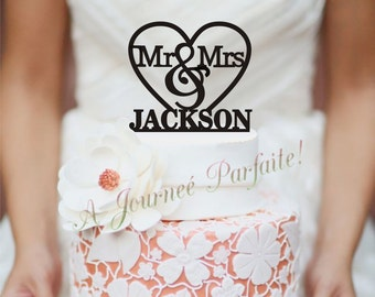 Mr & Mrs in Heart Wedding Cake Topper Personalizedwith Name [AJP9]